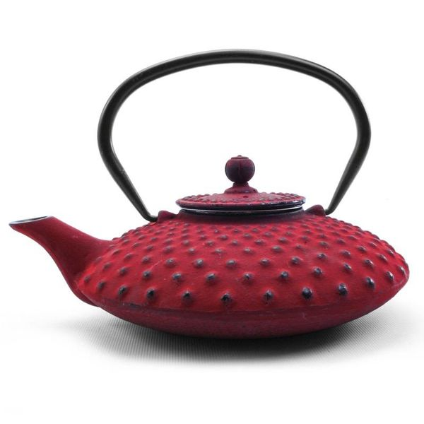 ZEN HOBNAIL TEAPOT, IRON, RED