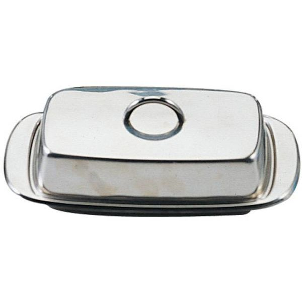 COV D BUTTER DISH, STAIN.ST