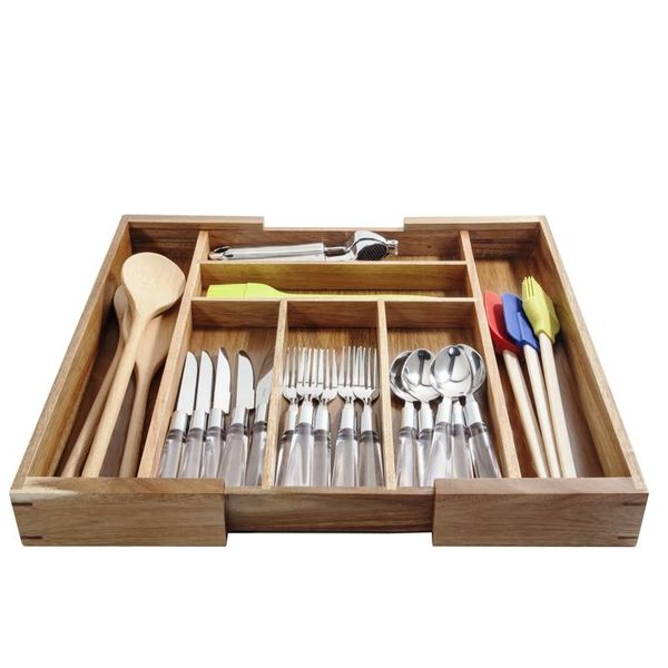 Natural Living ACACIA Expandable Utensil Organizer