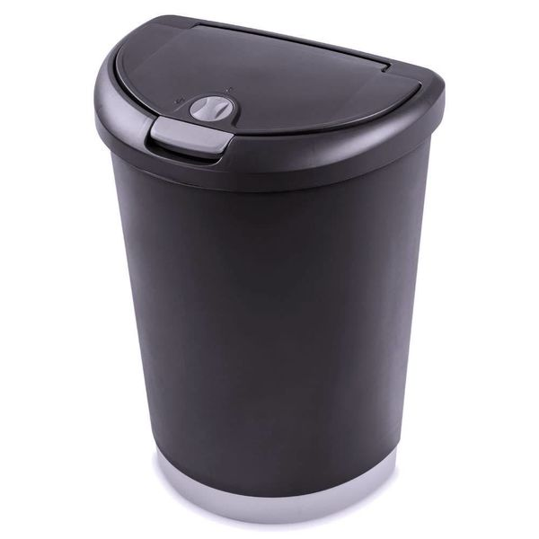 Sterilite 12.3 Gallon Locking Touch Top Wastebasket Black