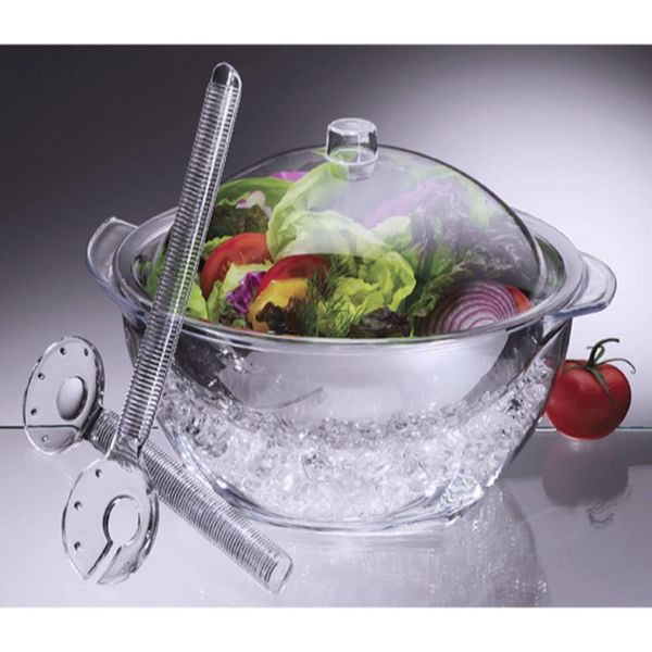 Prodyne Iced Salad With Dome Lid And Acrylic Salad Servers