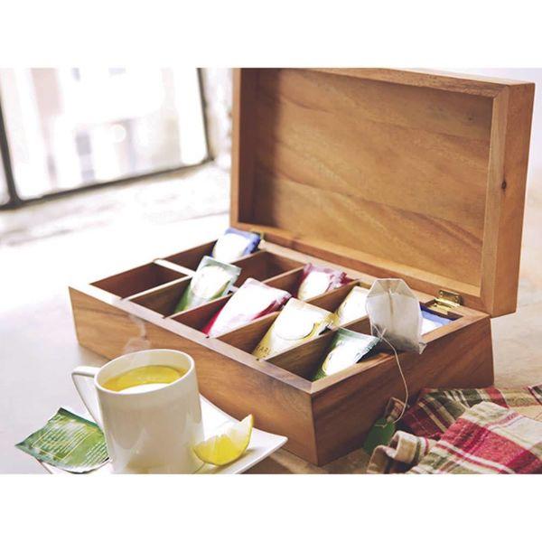 Boîte à thé rectangulaire en bois d'acacia de Ironwood