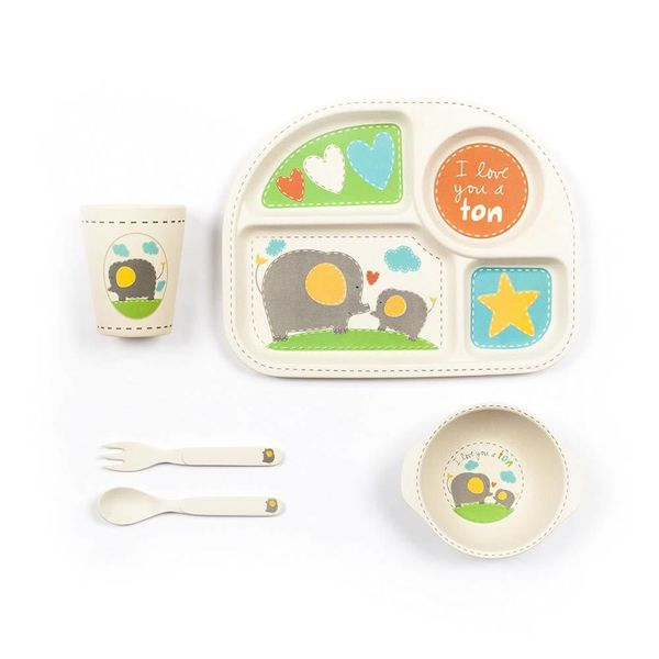Tiny Footprint Square Dinner Set 5Pk With Elephant Decal