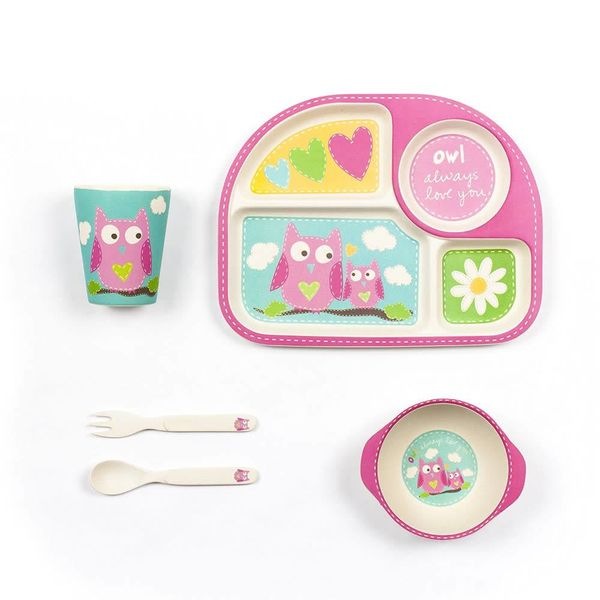 Tiny Footprint Square Dinner Set 5Pk With Owl Decal