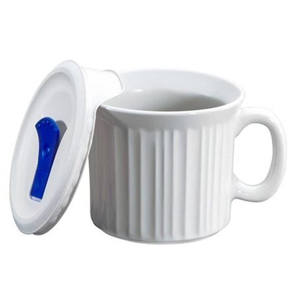 Corningware French White Pop-Ins 20-oz Mug with Vented Lid
