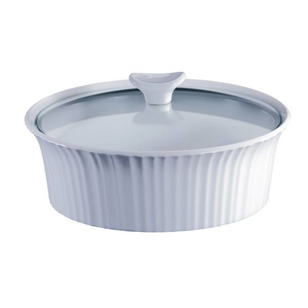 Corningware French White 2.5-Qt Round Casserole with Glass Lid