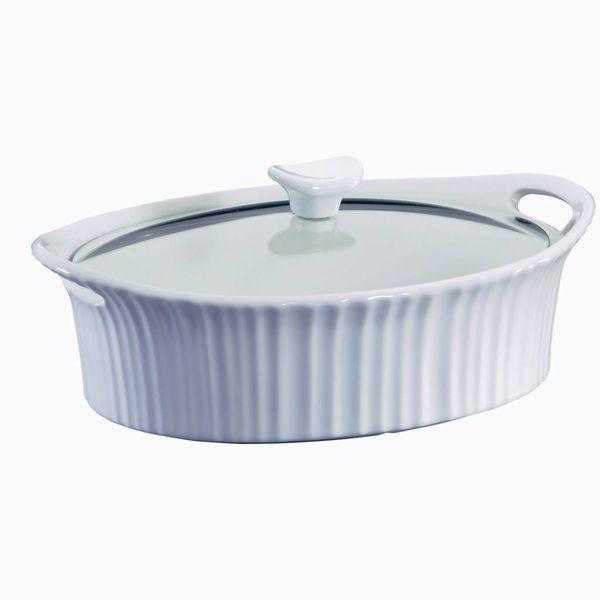 Casserole ovale 2.3L avec couvercle en verre French White de CorningWare