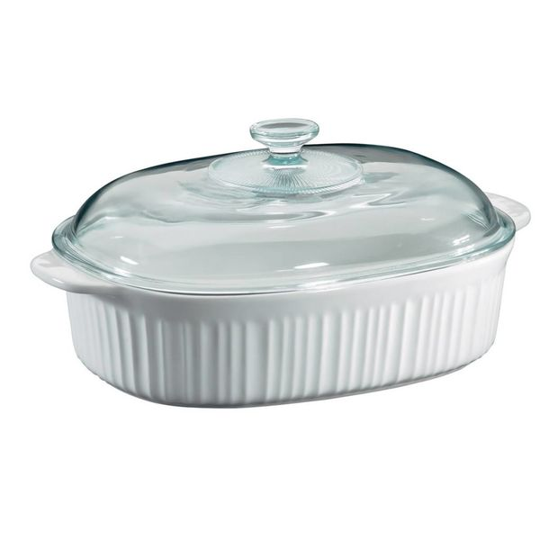Corningware French White 4-Qt Oval Casserole with Glass lid
