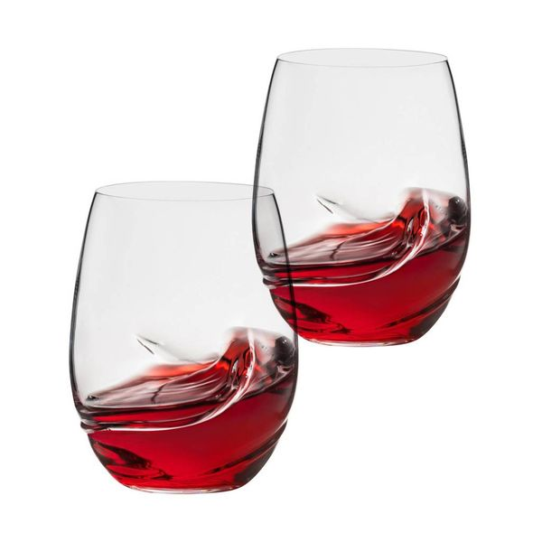 Trudeau Bohemia Set of 2 Oxygen Stemless Wine Glasses