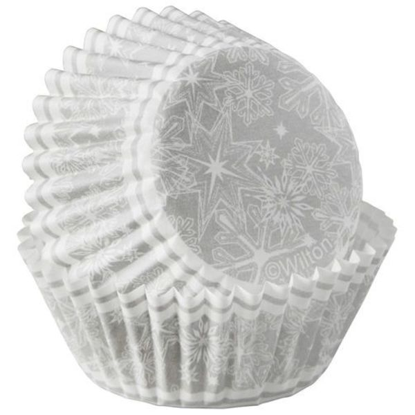 SNOWFLAKE MINI CUPCAKE LINERS, 100-COUNT