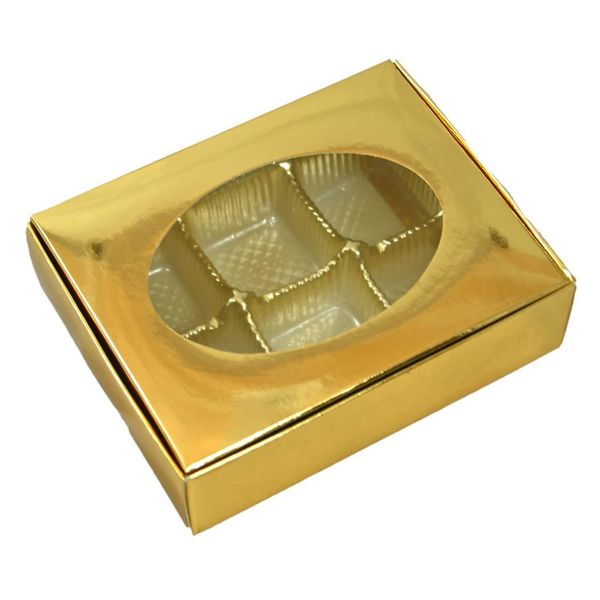 METALLIC GOLD one piece box with window