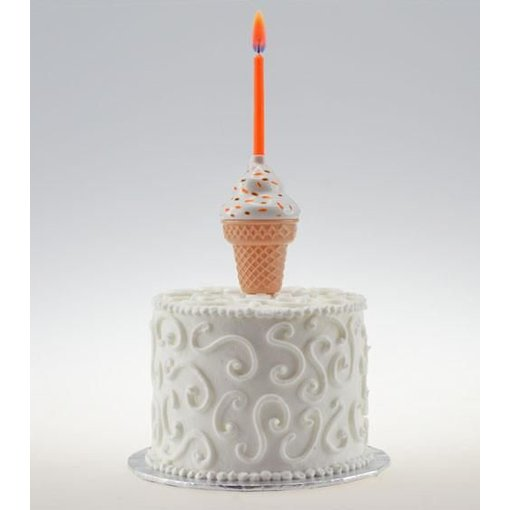 Rainbow Moments MUSICAL ICE CREAM CONE CAKE TOPPER WITH COLOR FLAME CANDLE