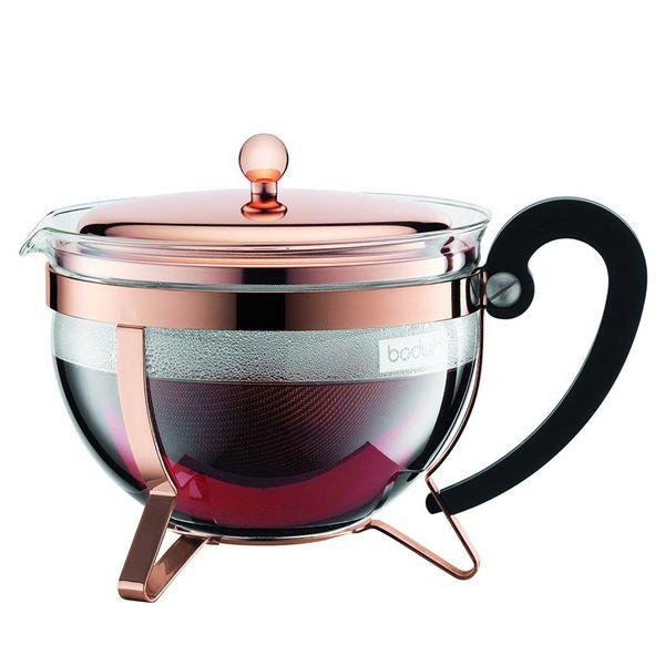 Théière Chambord Cuivre rosé et tamis inox par Bodum