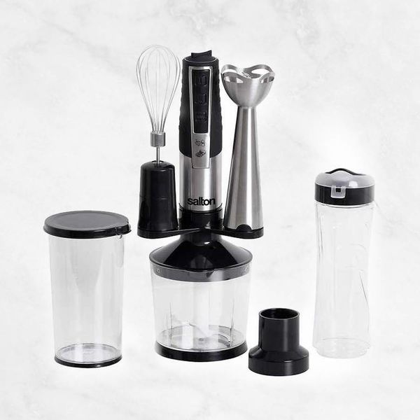 Salton 13pc Stainless-steel Hand Blender with Smoothie Bottle