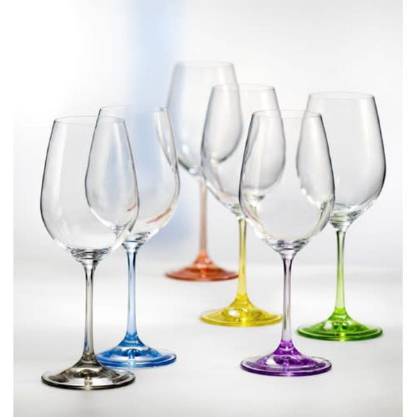 David Shaw Set of 6 Rainbow Wine Glasses