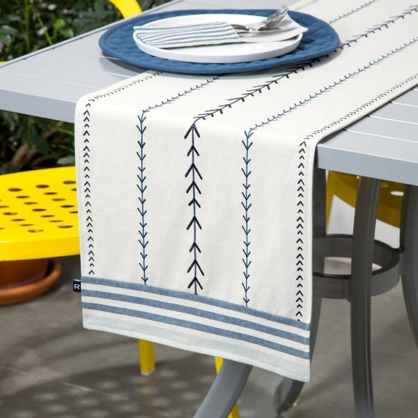 Ricardo Embroidered Chambray Table Runner with Woven Stripes