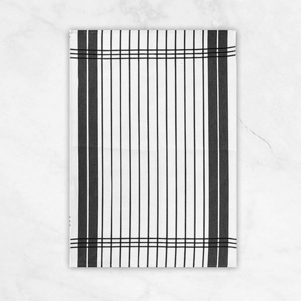 "Winkler ""Small Stripes"" Black Dish Towel"