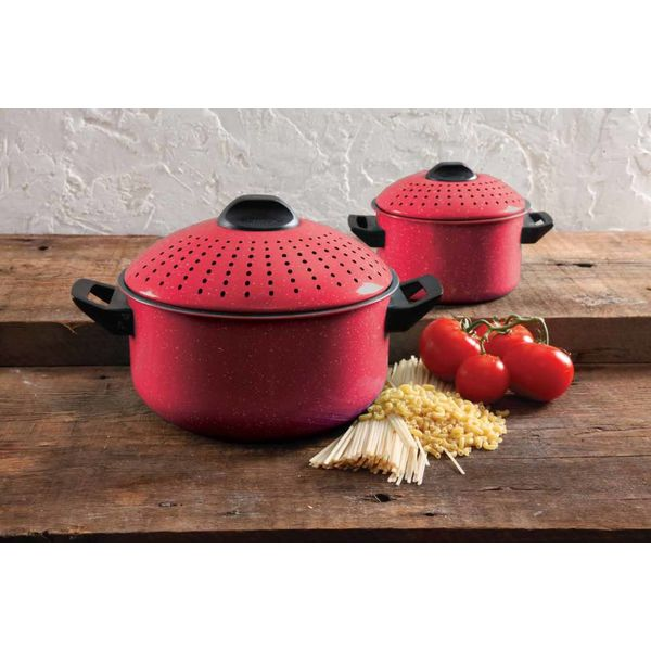 "Gibson Home ""Casselman""  Set of 2 Red Pasta Cooker Set"