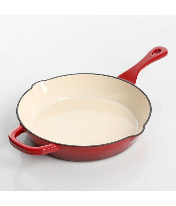 CROCKPOT Poêle à frire en fonte émaillée rouge 25.4cm de CrockPot