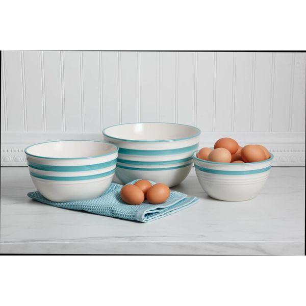 """Ensemble de 3 bols à mélanger bleu et blanc """"Hollydale"""""""