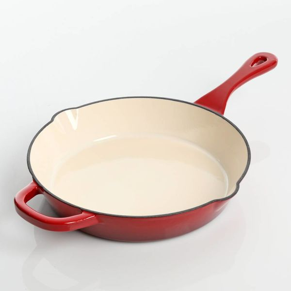 "Crock Pot ""Artisan"" 12"" Red Enamelled Cast Iron Fry Pan"