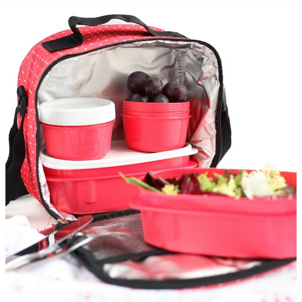 "Tatay ""Urban Food""  Red with Polka Dots Lunch Bag"