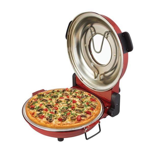 Four à Pizza Rouge avec Pierre de Cuisson 1200W par Kalorik
