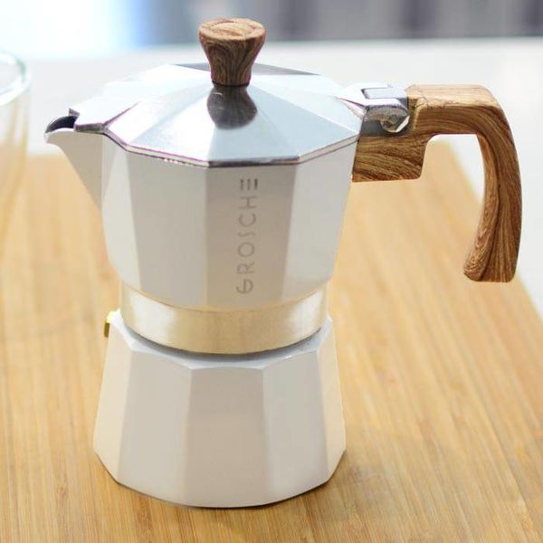 """Grosche """"Milano"""" 6 Cup Stovetop Espresso Maker White"""