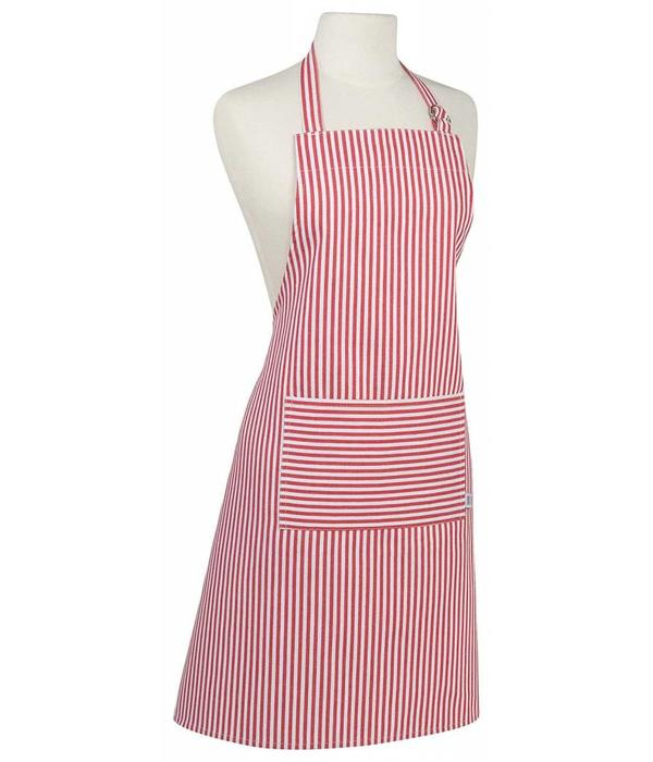 Now Designs Now Designs Basic Cotton Kitchen Chef's Apron, Narrow Stripe Red Print