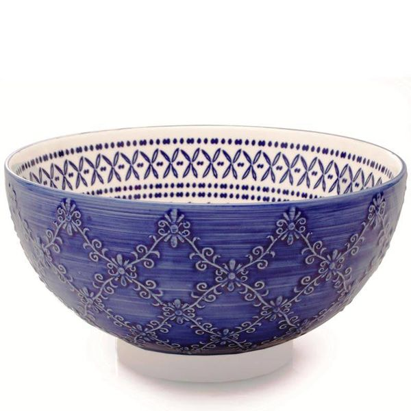 "BIA ""Trellis"" Serving Bowl Blue"