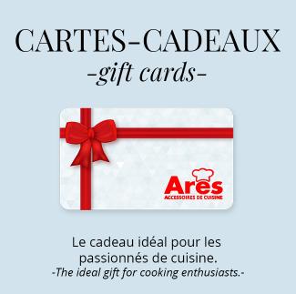 Offrez une carte-cadeau ARES pour les «foodies» de votre vie! Plusieurs choix de cartes-cadeaux sont possibles.
