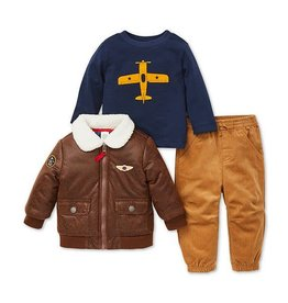 3-Piece Aviator Jacket, Shirt and Pants Set