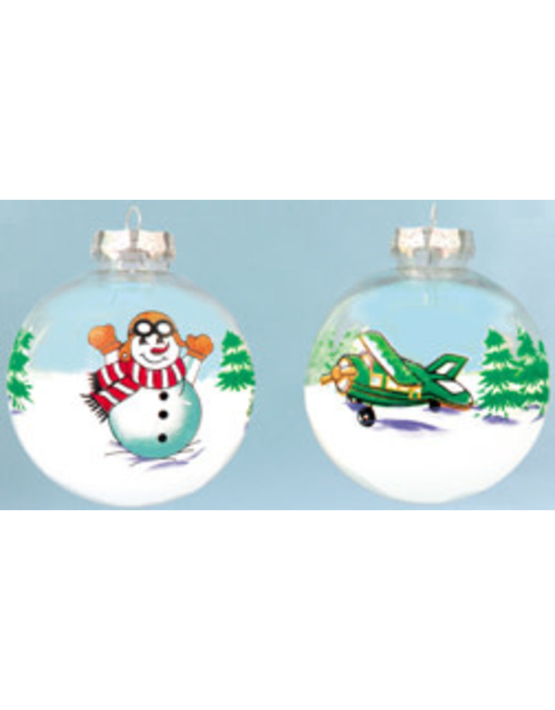 Transparent Plane and Snowman ornament