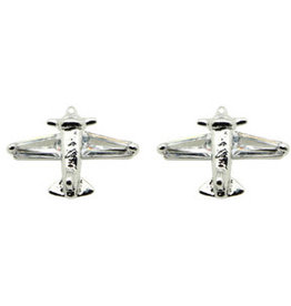 Silver Airplane Earrings with Cubic Zirconia Stones
