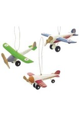 Colorful Wooden Airplane Ornament