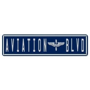 Aviation Blvd Metal Sign