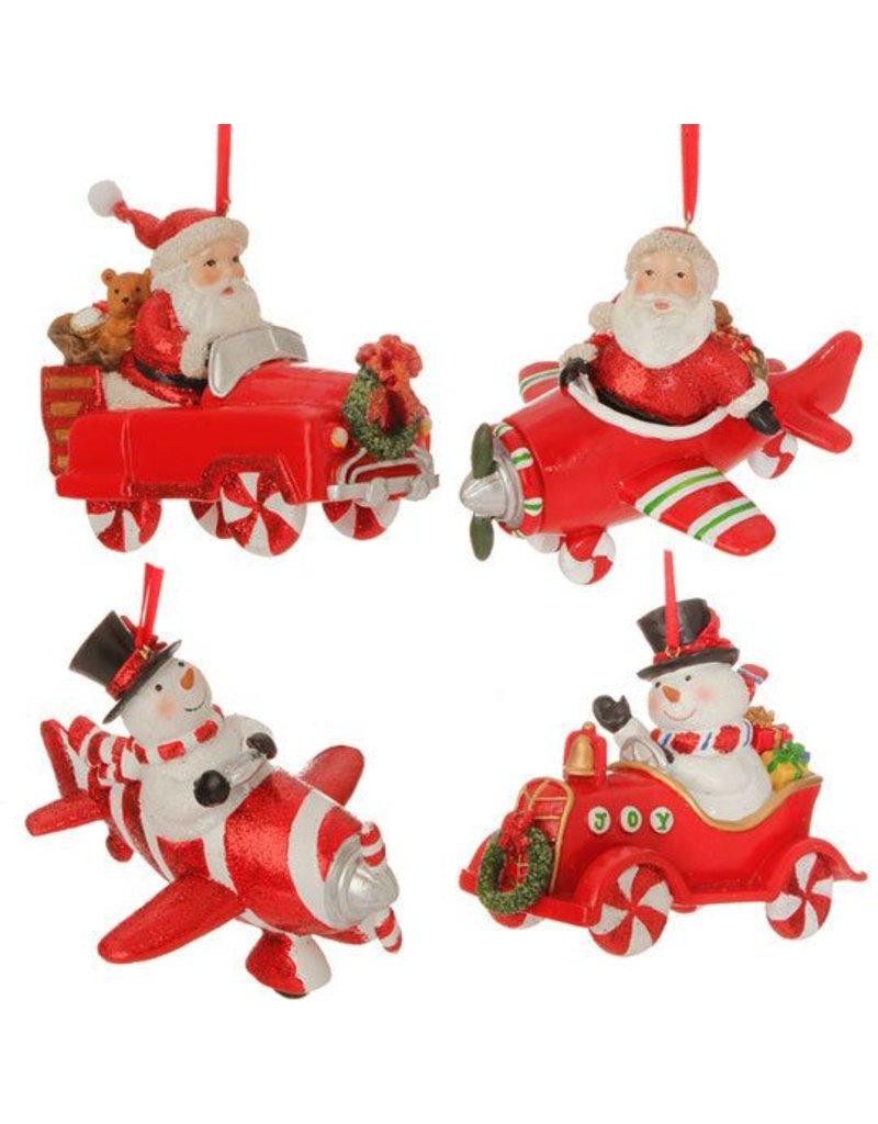 Santa / Snowman Plane Ornament