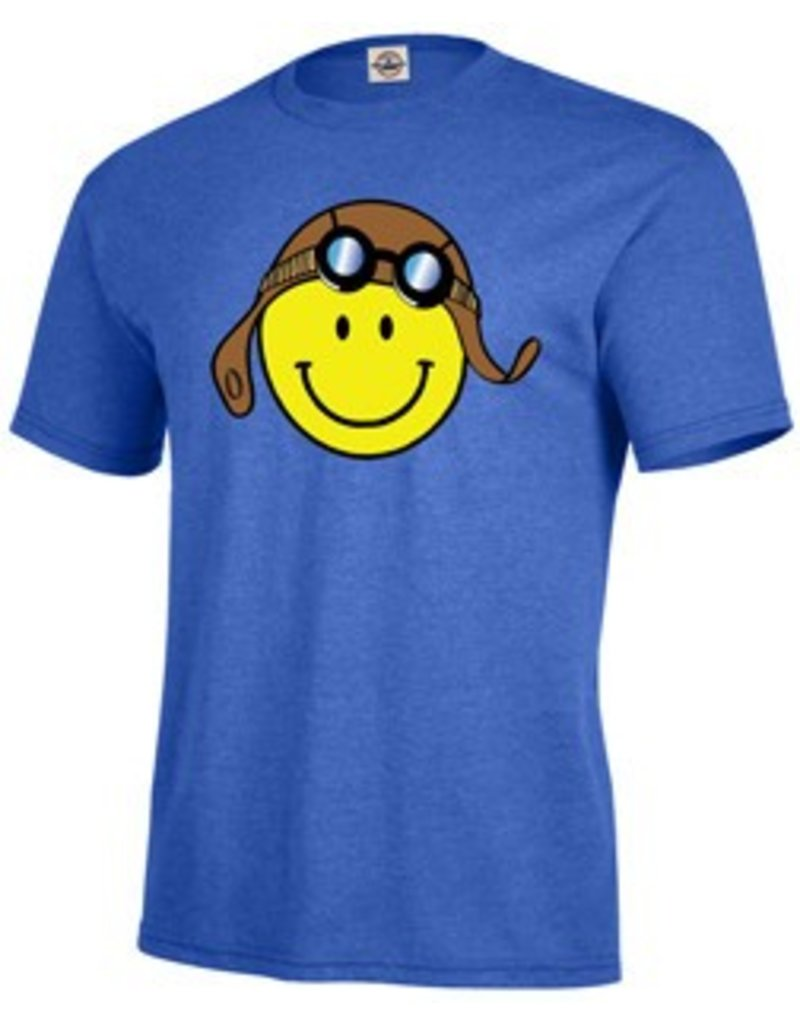 Smiley Face Blue Adult T-Shirt