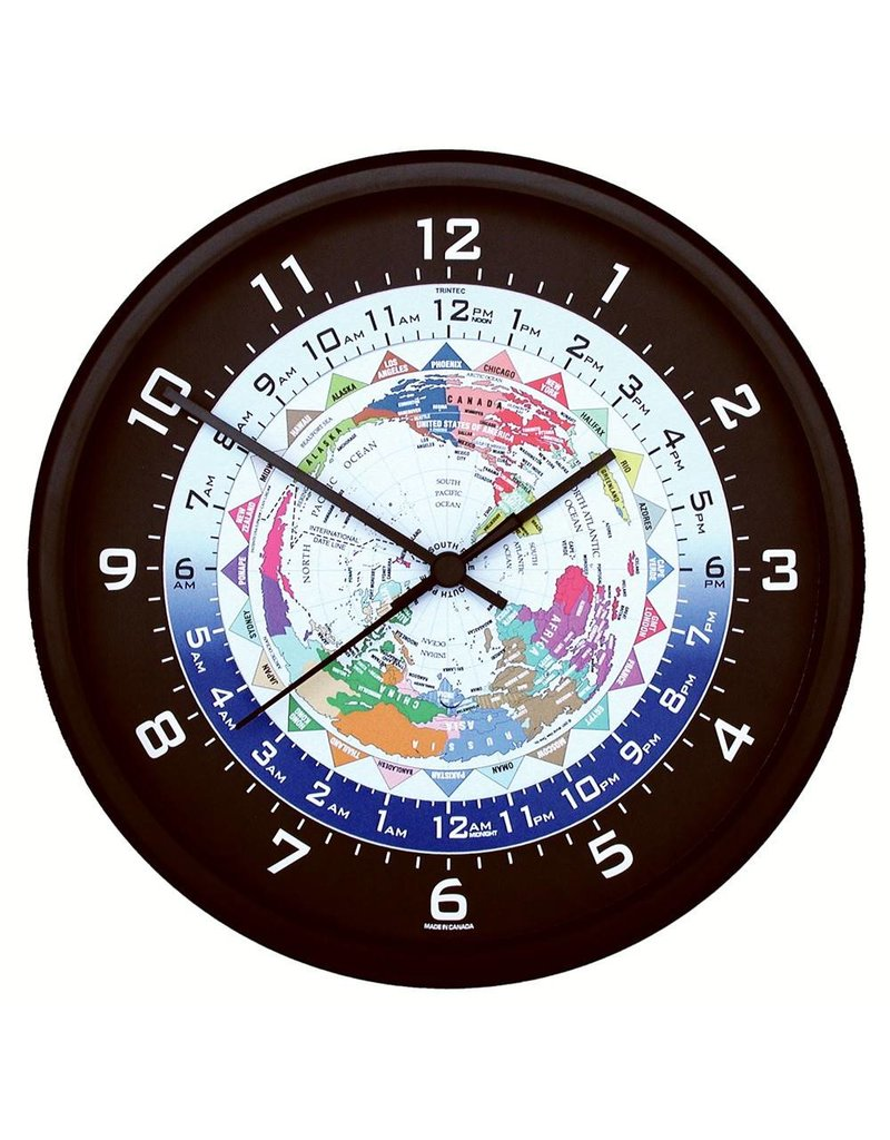 "World Time Clock, Black Frame, 10"""