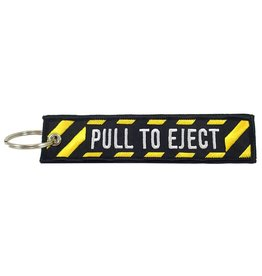 PULL TO EJECT embroidered keychain