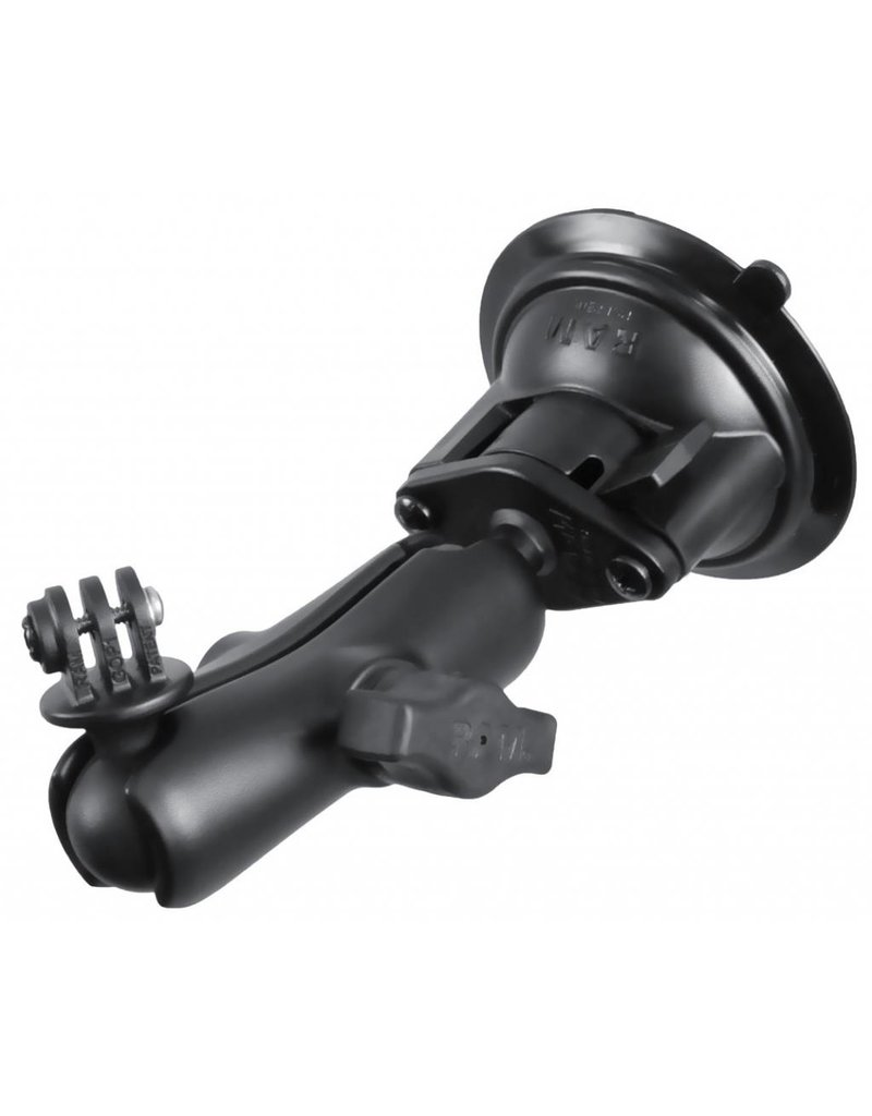 RAM TWIST LOCK SUCTION CUP MOUNT, SHORT DOUBLE SOCKET ARM WITH CUSTOM GoPro HERO ADAPTER