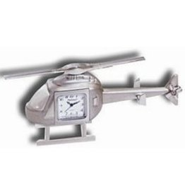 DESK CLOCK, HELICOPTER, METAL, SILVER