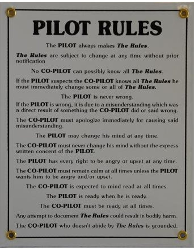 PILOT RULES Metal Sign