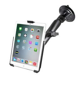 RAM TWIST LOCK SUCTION CUP MOUNT WITH LONG DOUBLE SOCKET ARM AND EZ ROLLER CASE FOR iPad MINI