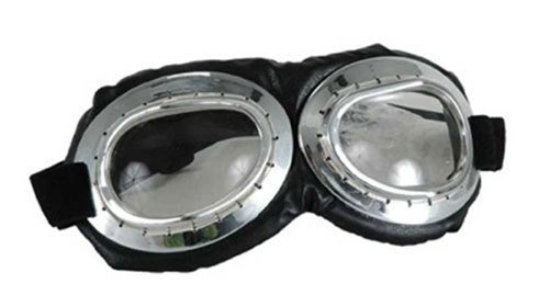 Costume Aviator Goggles (Silver/Black/Clear)