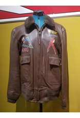 Vintage Handpainted FLYING TIGER Willis & Geiger US NAVY G1 Flight Jacket Size 40