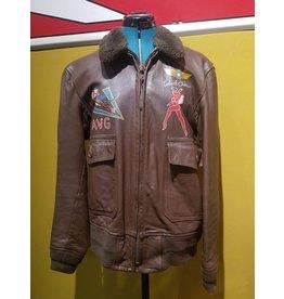 Vintage Handpainted FLYING TIGER Willis & Geiger US NAVY G1 Flight Jacket Size 40