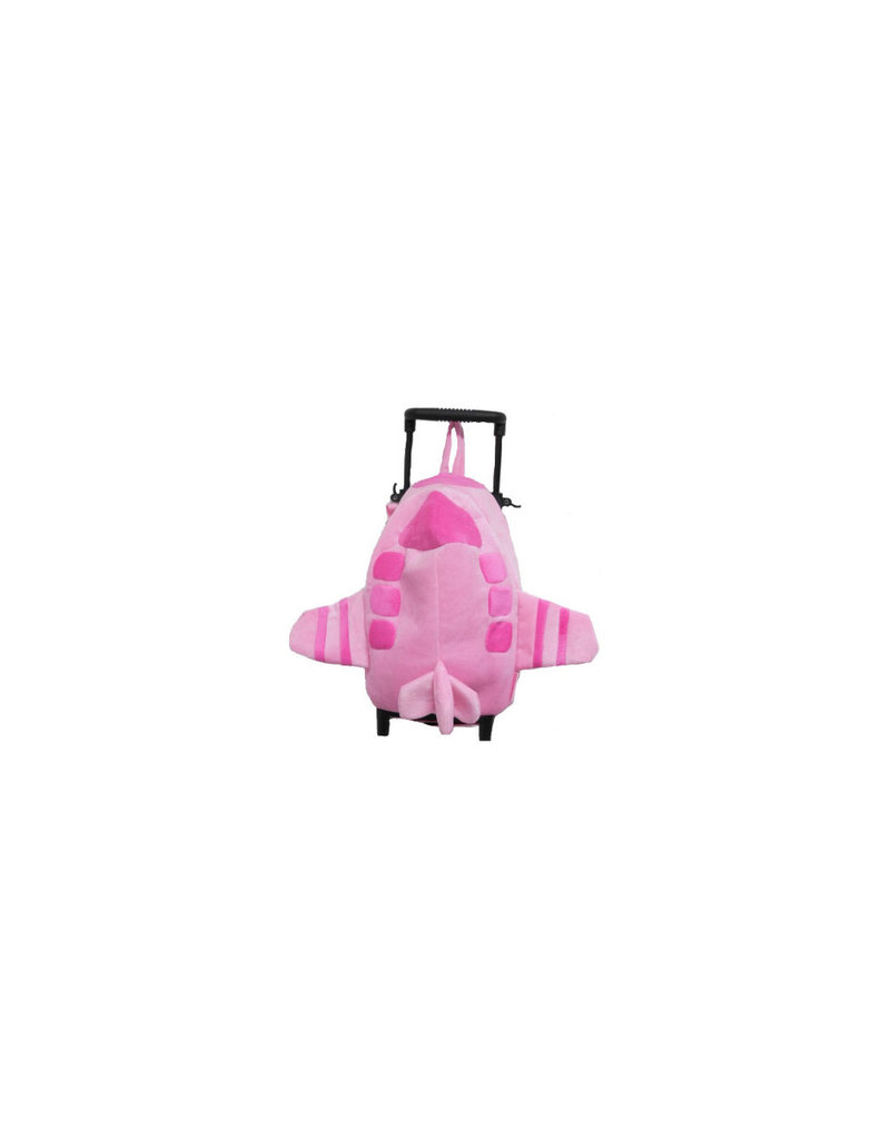 Pink Airplane Rolling Backpack