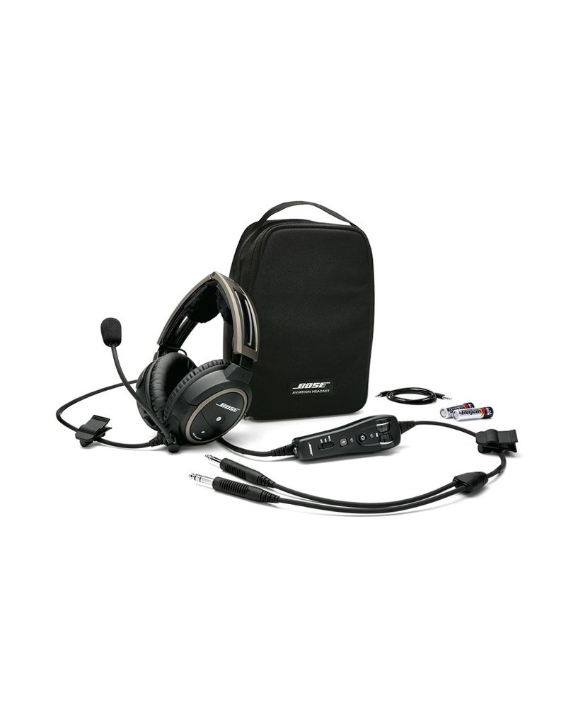 BOSE A20® Aviation Headset w/bluetooth/battery powered/electret mic/straight cord/twin plug