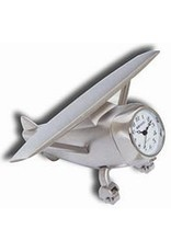 DESK CLOCK, HI-WING AIRPLANE, METAL, SILVER